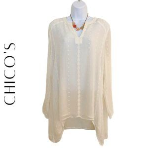 CHICO'S Ivory Lace & Crochet Blouse, Medium (8)